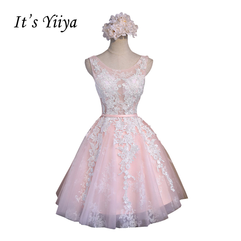 It's YiiYa Pink Sleeveless Flowers A-line   Cocktail     Dresses   Above Knee Appliques Illusion Lace up Simple Tulle Formal   Dress   BF008