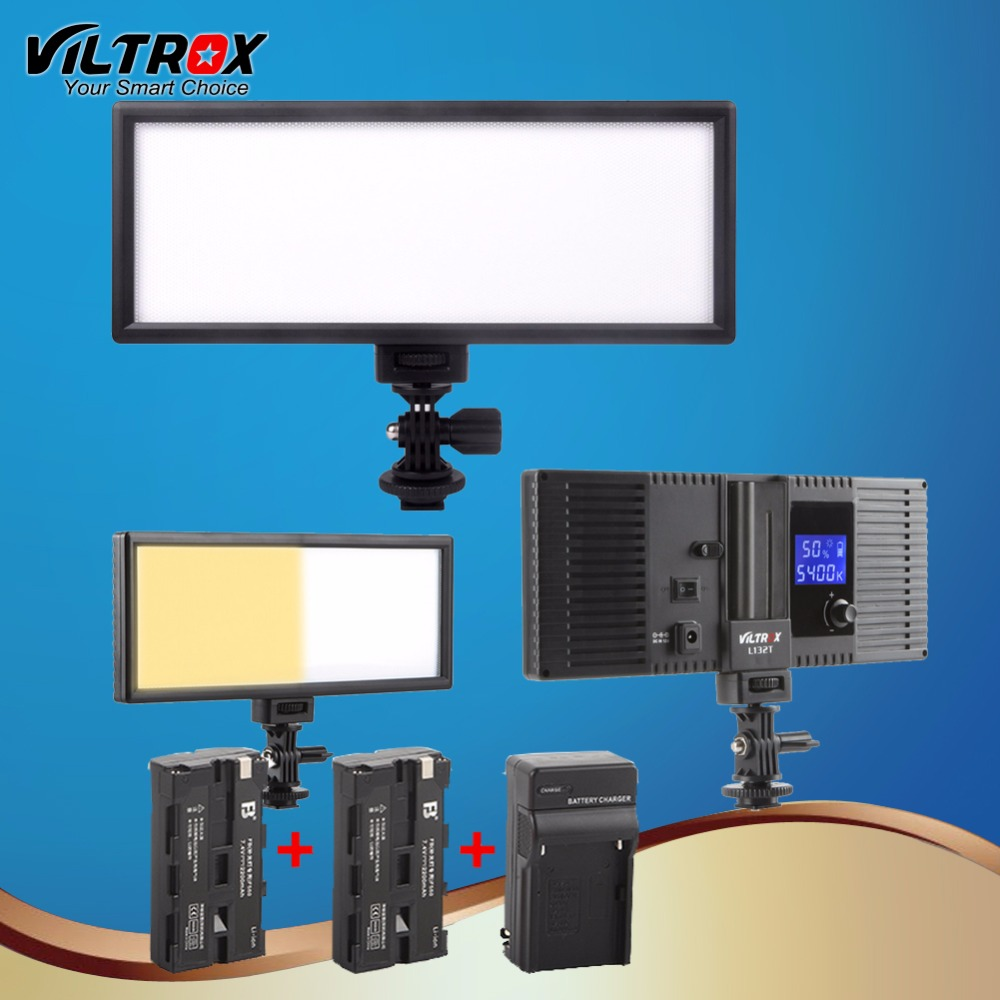 Viltrox L132t LED Studio Video Light Lamp Ultra Thin Bi-Color & Dimmable Adjustable Luminance for DSLR Camera+2 Battery+Charger