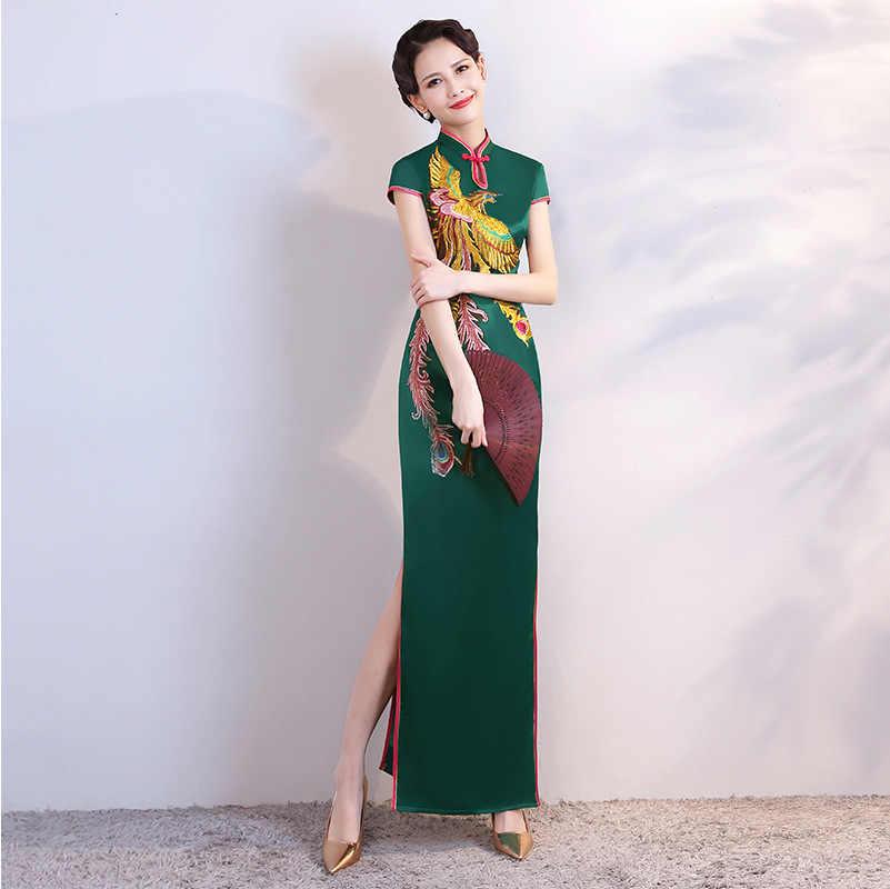 Cheongsam Verde Mujeres Vestido Tradicional Sexy Boda Qipao Bordado Chino Oriental Vestidos Formales Largo Qi Pao