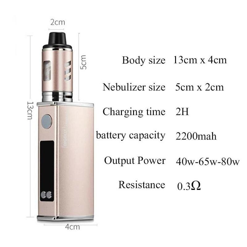 Electronic Cigarette 40W-80W Mod Big Box Kit 2200mah 0.5ohm Battery 2.8ml Tank Big Smoke Atomizer
