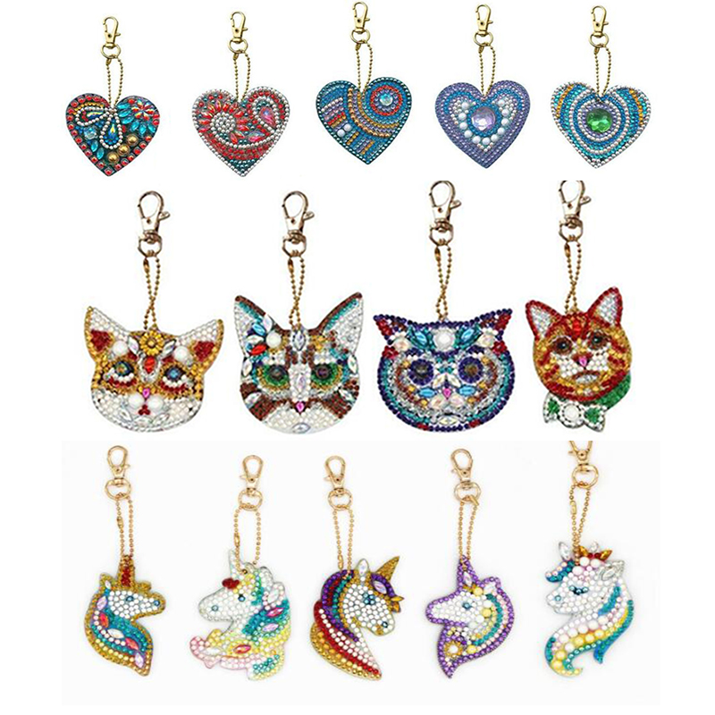 4/5pcs 5d Diy Diamond Painting Keychain Owl Unicorn Heart Full Special Shaped Diamond Jewelry Ornaments Woman Girl Bag Keyring