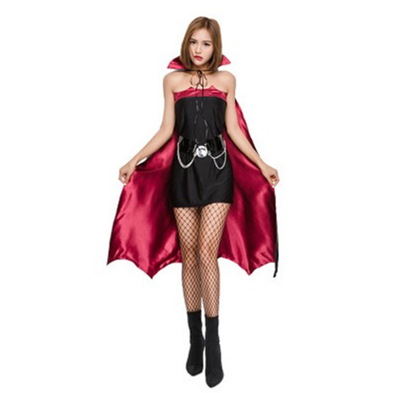 Sexy vampire costume for women high low skirt carnival holidays costumes