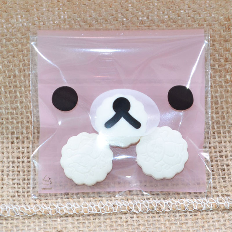 7x7cm Small Plastic Bags Cute Cartoon Cookie Candy Bag Self-adhesive Cello Cellophane Bag Wedding Decoration Party Supplies