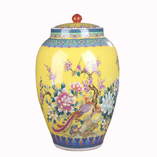 Jingdezhen Enamel Ceramic Rice Storage Jars Home Kitchen Storage & Organization Flour Storage Tank