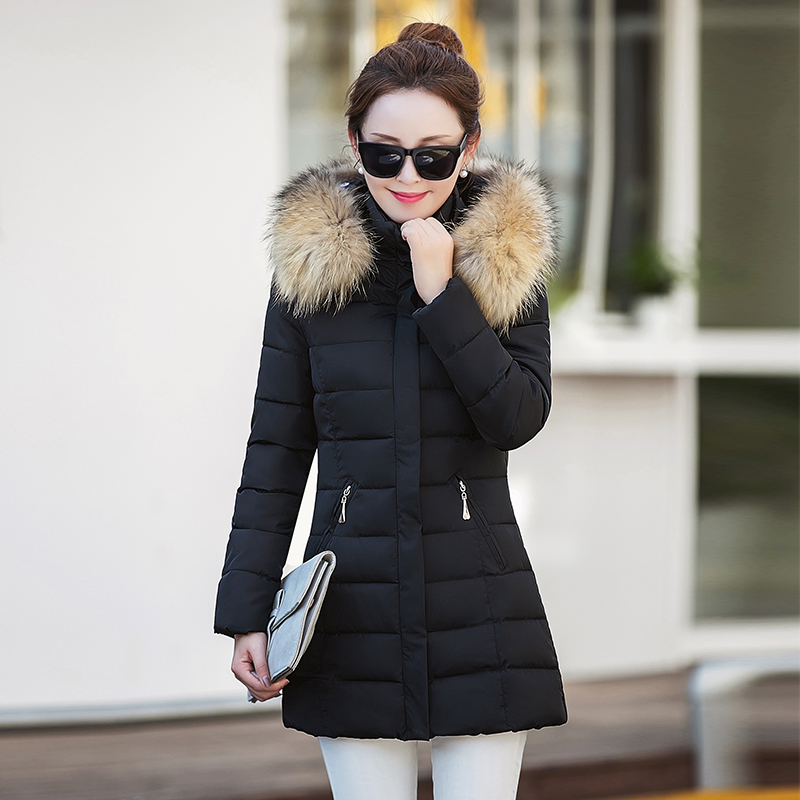 2017 winter women's down jacket in the long section of 20-30-year-old Korean fashion Slim hair collar warm clothing the little old lady in saint tropez