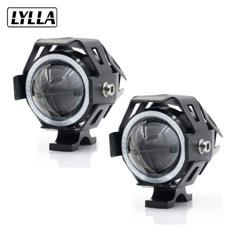 2PCS LYLLA 12V 125W Motorcycle U7 LED Headlight 3000LM led DRL Fog Spot Light Lamp Angle Devil Eyes Moto Spotlight Waterproof
