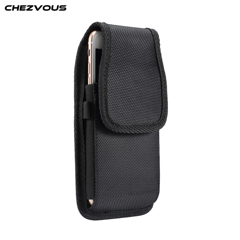 CHEZVOUS Nylon Phone Belt Holster <font><b>Case</b></font> for <font><b>Samsung</b></font> S10 S9 S8 plus S7 S6 <font><b>edge</b></font> j3 j5 a3 a5 2017 Waist Pocket for Huawei nova 3 p30 image