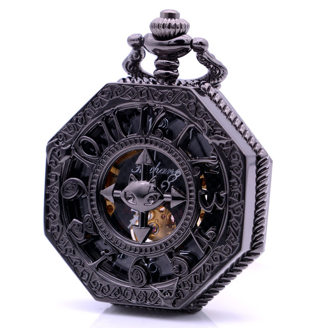 Cool Black Mens Womens Hand Wind Mechanical Pocket Watch Arabic Numbers Hollow C