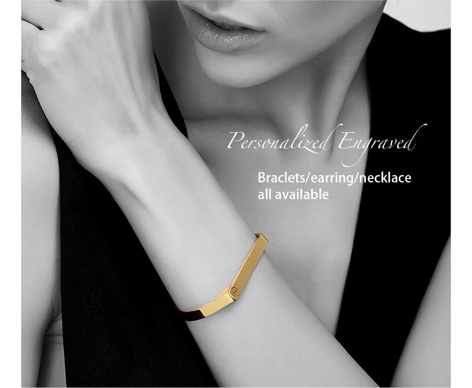 Enfashion Personalized Engraved Name Bracelet Gold Color Bar Screw Bangle Lovers Bracelets For Women Men Cuff Bracelets Bangles 4