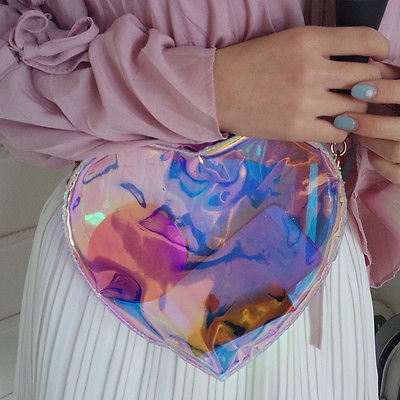 2017 Fashion Transparent Handbag Shoulder Bag Clear Jelly Purse Women Clutch PVC Heart Bag