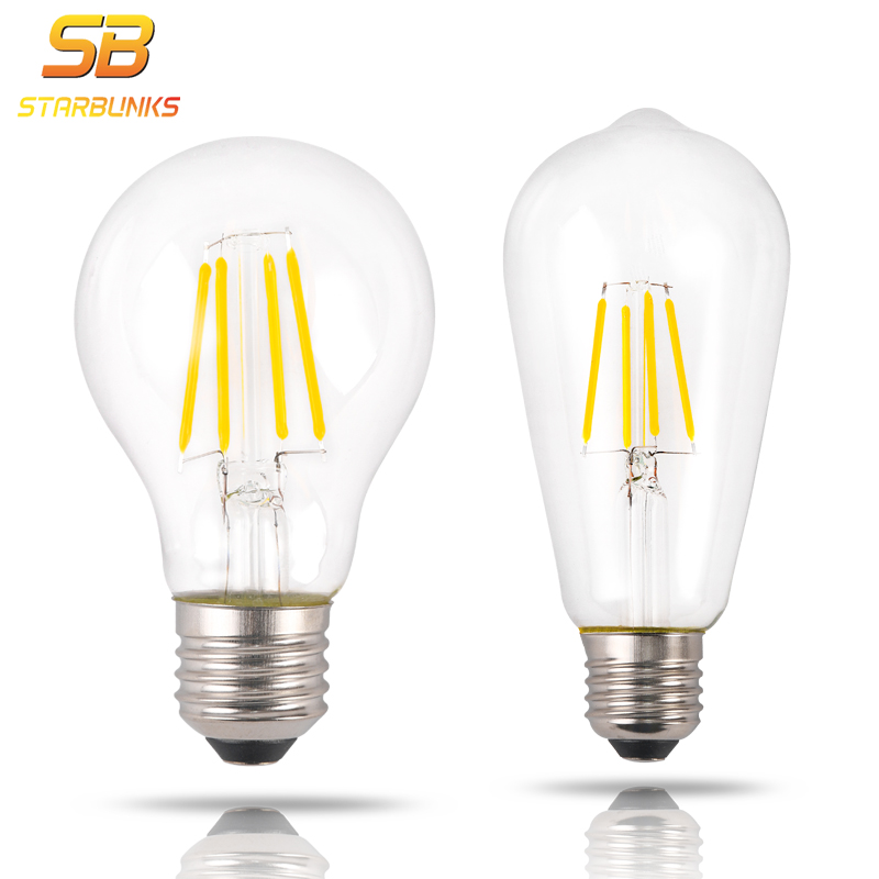 STARBUNKS Fashional LED Edison Bulb E27 AC 220V 4W/6W/8W ST64/A60 Highlight COB High Power Factor Bombillas LED Light Bulb