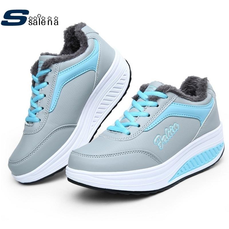 Prix pour Hiver Femmes Sneakers Femmes Chaussures de Course Plus de Velours Chaud Sports de Plein Air Chaussures de Rembourrage Fond Épais Swing Chaussures # B2121