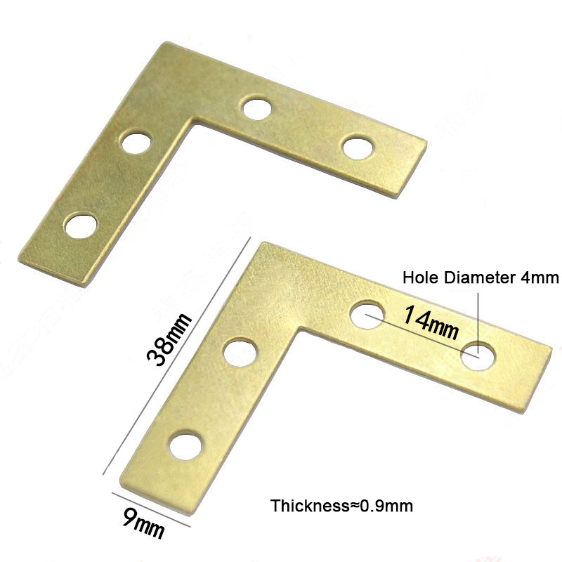 HOT 100PCS LOT 38 38 9mm Gold L shaped Metal Corner Brace 90 Degree Right Angle Fixed Bracket Shelf Support Furniture Connectors in Corner Brackets from Home Improvement