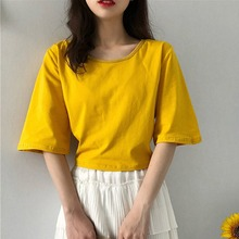 Cotton Summer Casual Solid Ladies T Shirt Women Half Sleeve O-neck Short T Shirts Sexy Back Hollow Out Bandage Crop Tops 2019 цена и фото