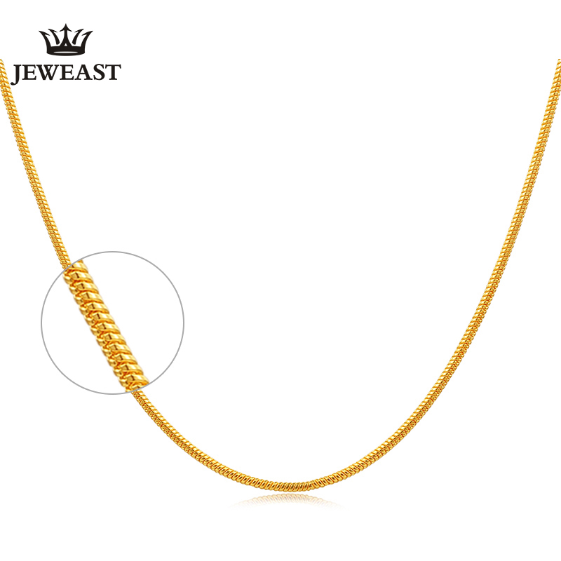 24K Pure Gold Necklace Real AU 999 Solid Gold Chain Good Beautiful Upscale Trendy Classic Party Fine Jewelry Hot Sell New 2018 2018 new hot middle east fine jewelry colorful crystal sweater chain bracelet candy color gold rose necklace cute party necklace