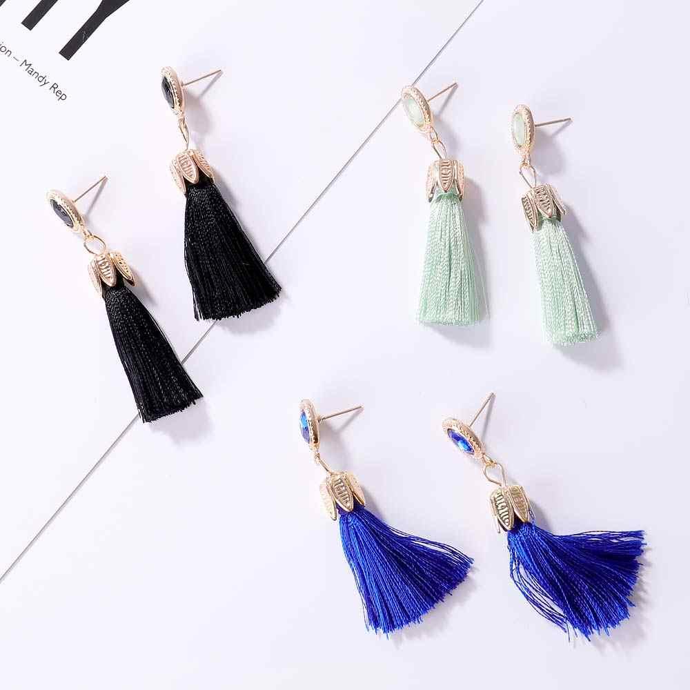 Bohemian Big Long Dangle Tassel Earrings for Women ZA Fashion Fringe Earrings Luxury Handmade Geometric Fringe Jewelry