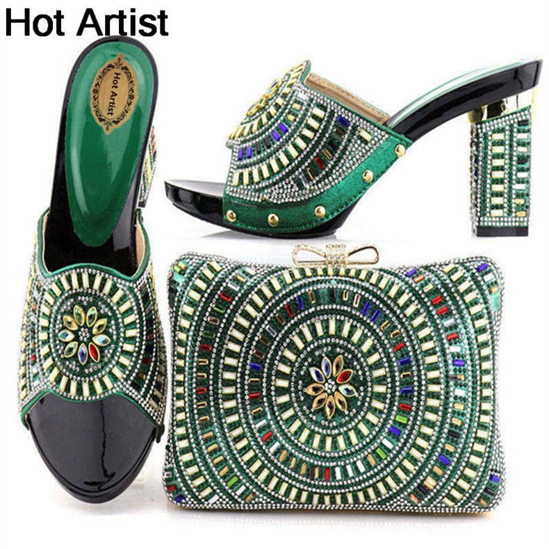 Hot Artist Fashion Italian Style Woman Shoes With Matching Bags Sets African Pumps Shoes And Bags Set For Party Dress YTH-15 african fashion shoes with matching bag set for wedding party italian design nigeria women pumps shoes and bags mm1060