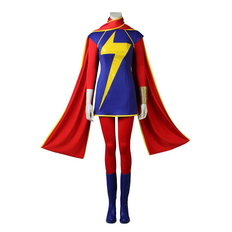 Ms. Marvel Cosplay Costume Kamala Khan Role-play Outfit Heroine Suit Halloween Costume for Adult Women Customized