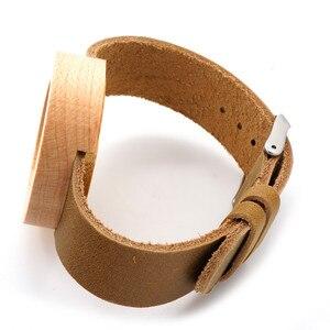 Image 5 - BOBO BIRD montres en bambou pour femmes, rondes de Sport, à Quartz, avec bracelet en cuir véritable