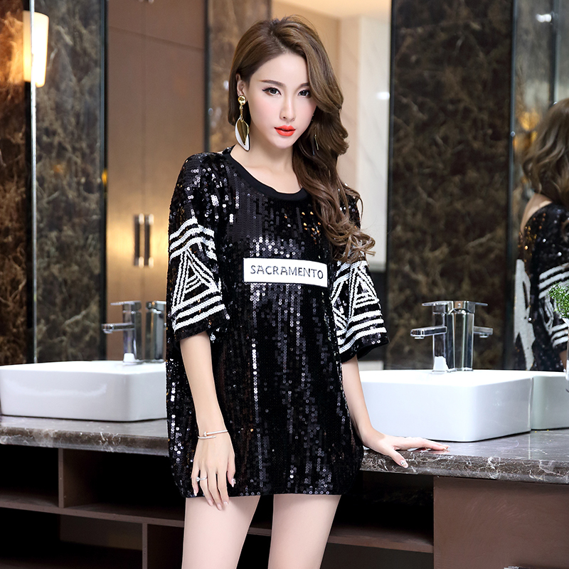 Jazz Dance Sexy Loose T-shirt Of DJ Dancer Night Club Skirts Costumes For Women With Black White Top  Sequined Clothing DQT1200