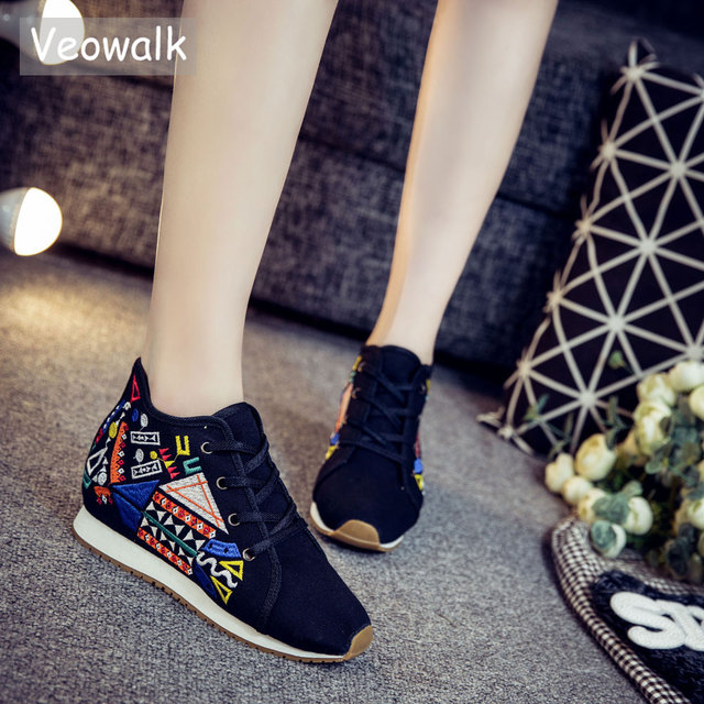 Veowalk Geometry Embroidery Women's Mid Top Canvas Travel Shoes Lace up Soft Denim Cotton Ladies Casual Platforms Zapatos Mujer