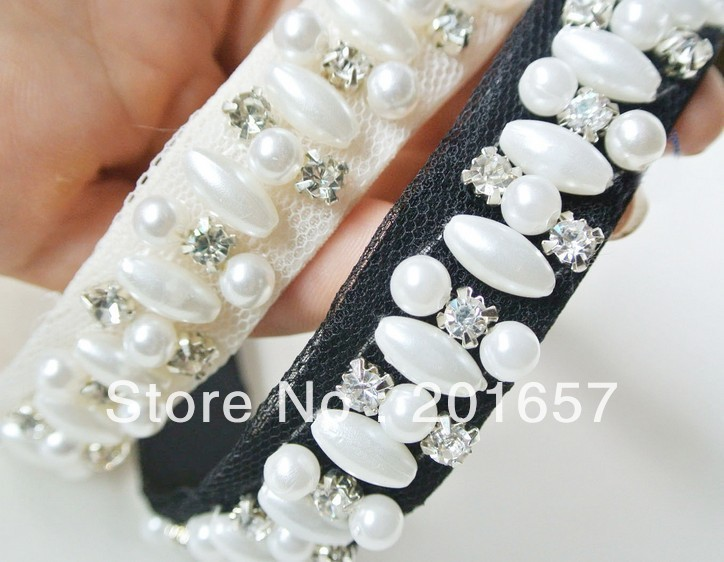 2021 new Wholesale and Retail fashion pearl and gems sewing handmade elastic hairband headband hair accessories 12pcs/lot