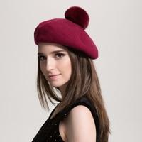 Women Pure Wool Beret Rabbit Fur Pompom Hat Solid Colors 2017 Winter New Top Quality Beret