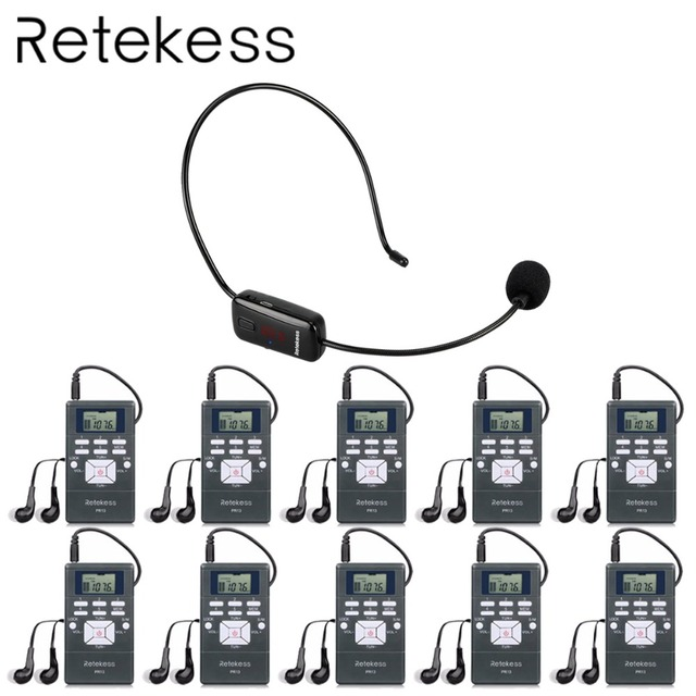RETEKESS Wireless Audio Microphone Tour Guide System Language Interpretation System For Church Conference Museum Tour Guiding