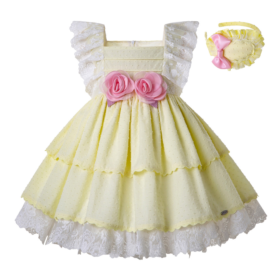 Pettigirl Light Yellow Girls princess Dress With Pink Flowers A Line Kids dresses Children Clothing G