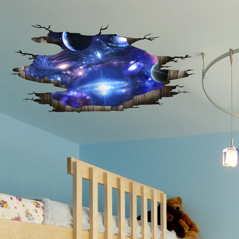 [SHIJUEHEZI] Universe Galaxy 3D Wall Stickers DIY Outer Space Milky Way Wall Decor for Kids Rooms Floor Ceiling Decoration