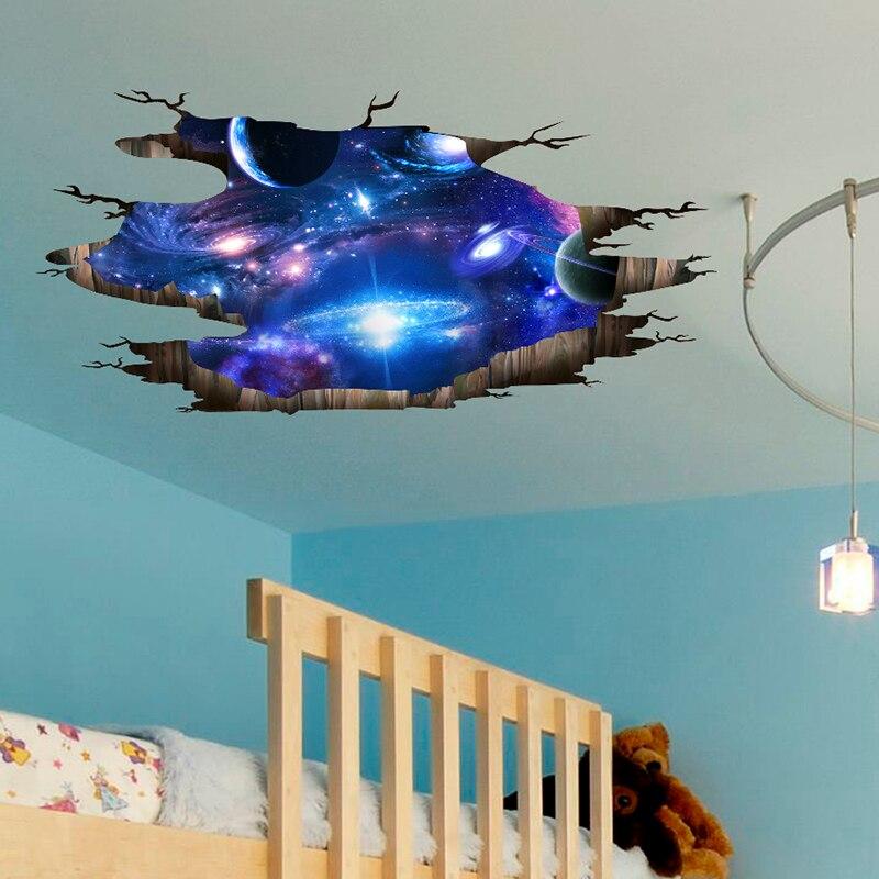 [SHIJUEHEZI] Universum Galaxy 3D Wand Aufkleber DIY Äußere Raum Milchstraße Wand Dekor für Kinder Zimmer Boden Decke dekoration
