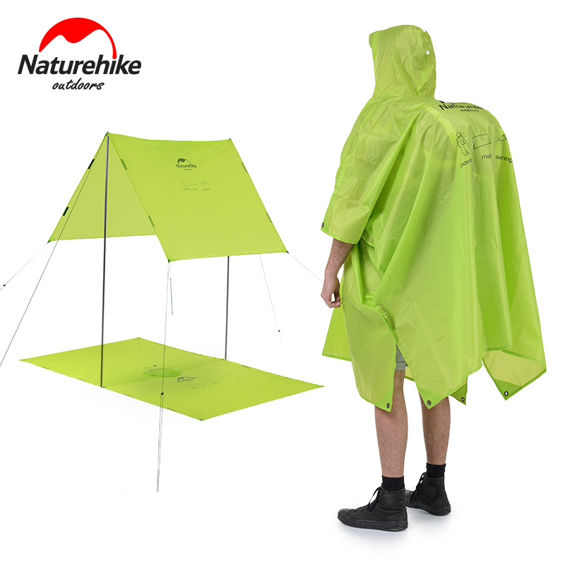 Naturehike extérieure imperméable Coupe-Vent 3in1 Multifonction veste Camping et Randonnée imperméable poncho nylon Voyage Auvent Tapis