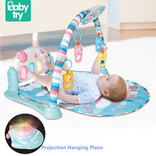 Babytry Educational Toys Multifunction Soft Music Bell Gym Piano Fitness Frame Baby Play Mat For Infant Toddler Crawling Develop 70 30cm baby play crawling mat music carpets kid piano play game mats animal sounds educational soft kick toys gift nsv775