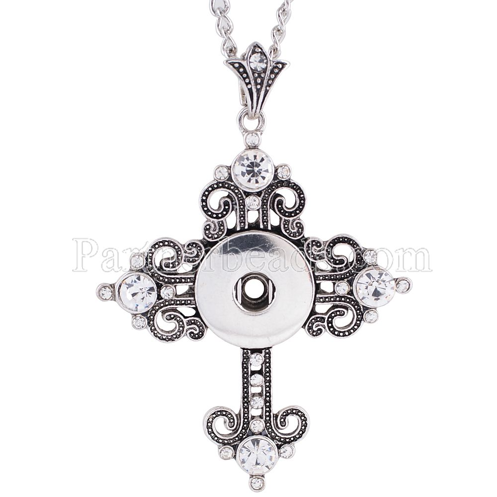 NEW 2017 Fashion cross Metal Snap Necklace Beauty fit DIY 18MM snap buttons jewlery for woman wholesale women KC0981