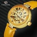 Элегантные женские часы с скелетом оранжевые женские часы механические кожаные римские цифры дизайн городские женские Автоматические нар...