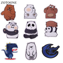 ZOTOONE Cute Bear Patches  Dinosaur Stickers Diy Iron on Clothes Heat Transfer Applique Embroidered Applications Cloth Fabric G