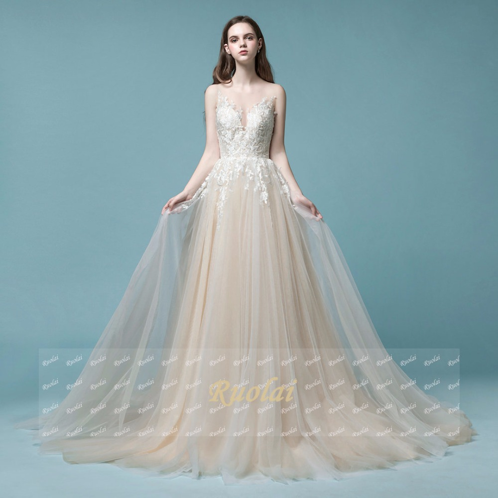 2018 Real Sample Beautiful Tulle Wedding Dresses Scoop Lace ...