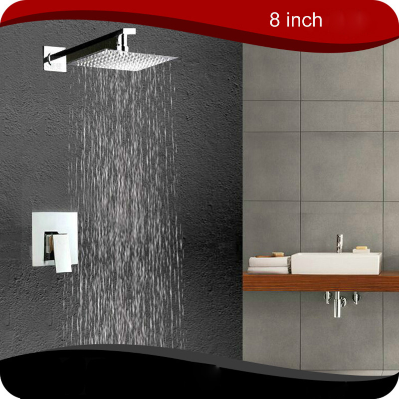 8 Bathroom Ceiling Mounted Ultra-thin Rainfall Shower Head&Control Valve Wall Mounted Hot&Cold Water Mixer Taps Shower Sets 21mm male thread bathroom cool hot water heater control valve