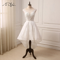 ADLN Cheap Ivory Wedding Dress Cap Sleeve Applique Beaded Lace Hi Lo Wedding Gowns Bride Robe