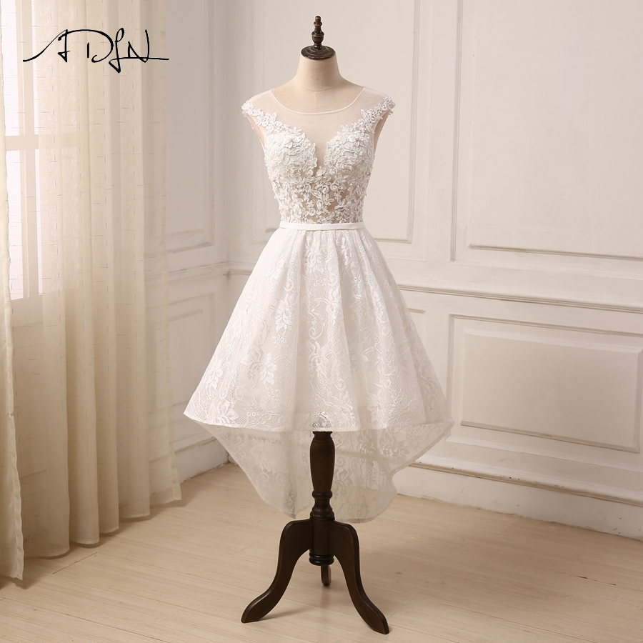 ADLN Cheap Ivory Wedding Dress Cap Sleeve Applique Beaded Lace Hi-Lo Wedding Gowns Bride Robe De Mariage New Arrival