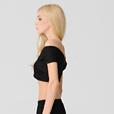 7abaf42e5d0 New Slash Neck Backless With Zipper Crop Top Low Cut Short Sleeve Women T  Shirt