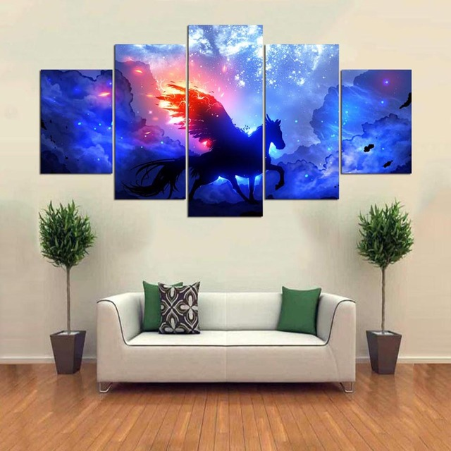 Framed Wall Art Painting Hd Printed 5 Panel Starry Sky