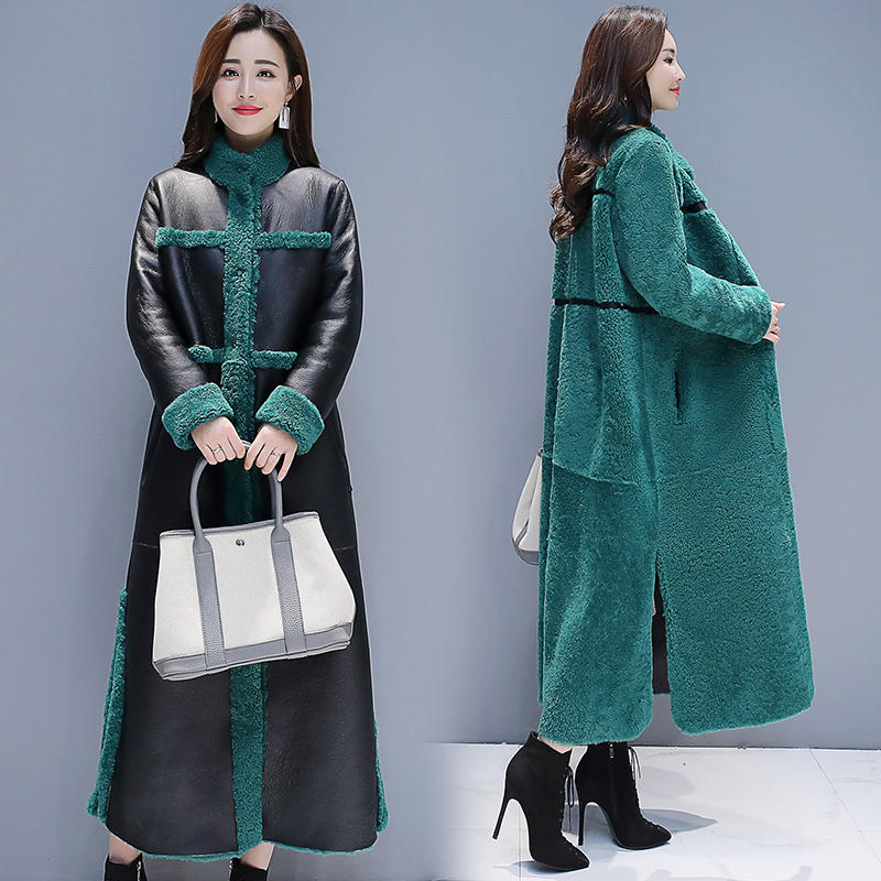 Winter Fur Coat Women Lambswool   Leather   Long Jacket Coat Female Elegant Warm Thick Large Size   Leather   Women Winter Coats Q1692