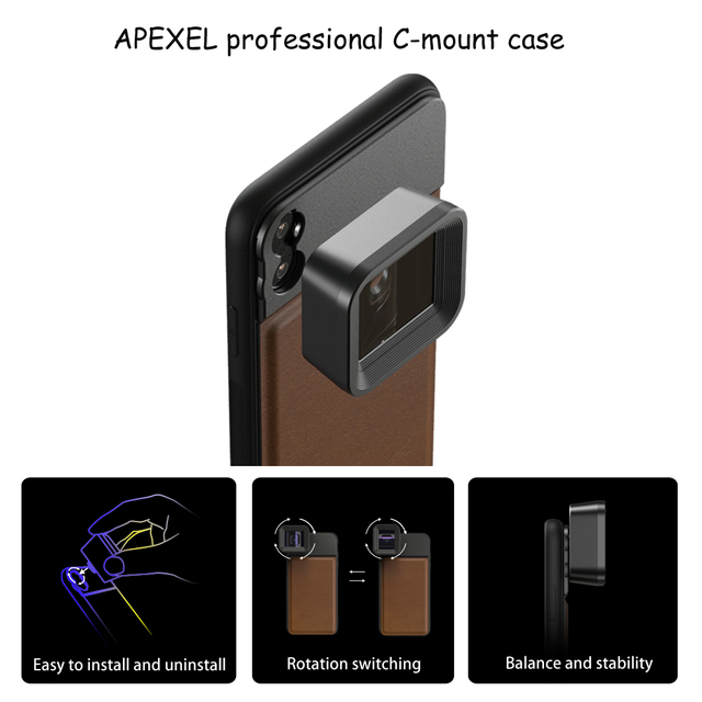 APEXEL HD professional moive Lens 1.33x WideScreen anamorphic lens Video Phone camera Lenses for Vlog iPhone Huawei smartphones 4