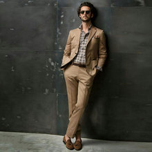 Khaki Business Men Suits Wedding Suits for Men Costume Homme Groom Tuxedo Best Man Blazer Custom Made Terno Masculino 2Piece