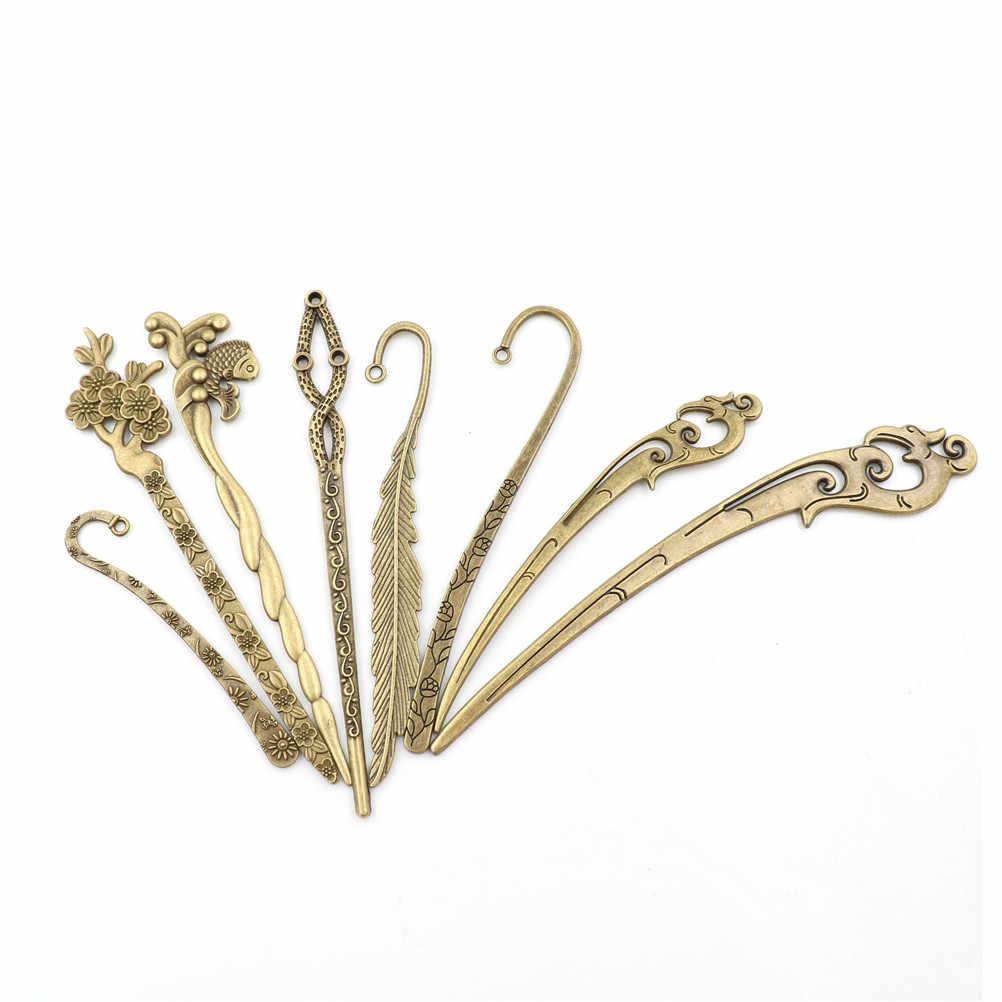 Vintage Metall Lesezeichen Vintage Schöne Floral Überzogene Linien Antike Silber Bronze Geschenk Für Bücher Büro Schule Liefert