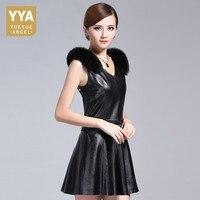 Fashion Womens Sheepskin Genuine Leather Pleated Dress Fox Fur Spliced V Neck Party Dress Sleeveless Slim Fit Office Lady Dress