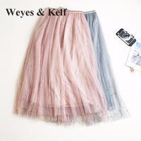 Weyes & Kelf Słodki Solidna Suknia Balowa Spódnice 2018 Koraliki Tulle Tutu Spódnice Dla Kobiet Lato Haft Długie Warstwy Spódnica Kobiet Różowy