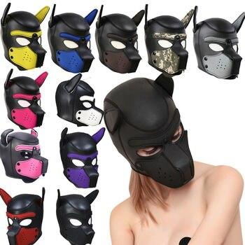 Partei Masken Pup Puppy Spielen Hund Haube Maske Padded Latex Gummi Rolle Spielen Cosplay Volle Kopf + Ohren Halloween Maske sex Spielzeug Für Paare