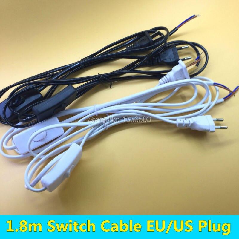 20 piece 1.8m Switch Wire EU US Plug White Black PVC Cable LED Lamp ...